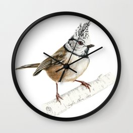 European crested tit, Lophophanes cristatus Wall Clock
