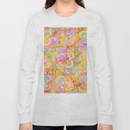 Rainbow Pastel Abstract Typography Watercolor Painting Long Sleeve T-shirt
