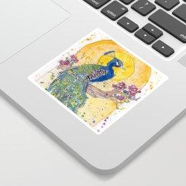 Peacock in the Sun Sticker