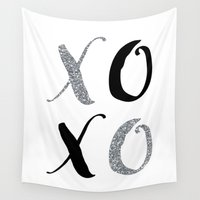 xoxo Wall Tapestries featuring XOXO by Indulge My Heart