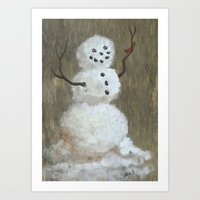 Rustic Snowman And Little Red Bird, A Warm Friendship, Small Crop Art Print