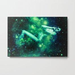 Green Galaxy Woman : Nude Art Metal Print