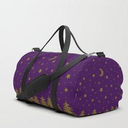 Sparkly gold Christmas tree, moon, stars on purple Duffle Bag