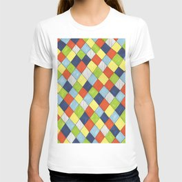 Doodle style bright hand drawn harlequin pattern. T-shirt