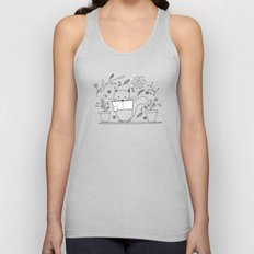 Cat between the flowers Unisex Tank Top