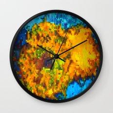 2 cut pixelated sunflowers Wall Clock