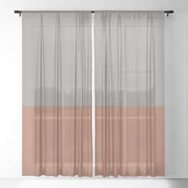 Earthy Horizon 3 Inspired by Sherwin Williams Cavern Clay Sw 7701 and Slate Violet SW 9155 Sheer Curtain
