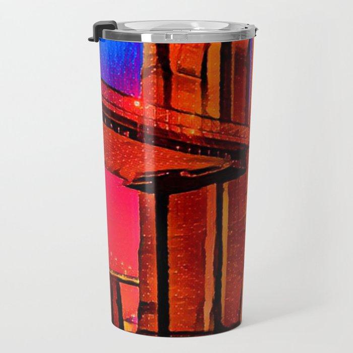 Colorful Artwork City Art Painting On Canvas Travel Mug