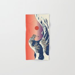 The Great Wave of English Bulldog Hand & Bath Towel