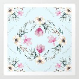 Floral Square Acqua Art Print