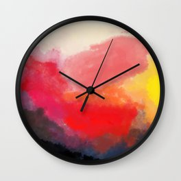 Red, Black and Yellow Mosaic Wall Clock