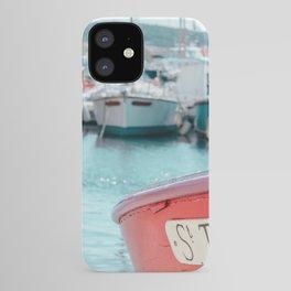 Nautical Travel Print | Blue, Teal, Turquoise Clear Sea, Ocean | Boats, Harbor, Seascape Europe iPhone Case