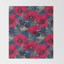 Fairy wren and poppies Throw Blanket