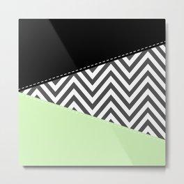Zigzag Pattern, Chevron Pattern - Gray Green Black Metal Print