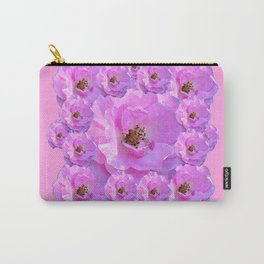 Fuchsia Purple Pink Wild Roses Pattern Art Carry-All Pouch