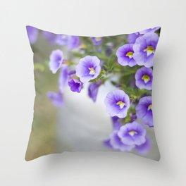 Violets in a Milk Churn Throw Pillow