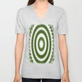 Green White Kaleidoscope Art 8 Unisex V-Neck