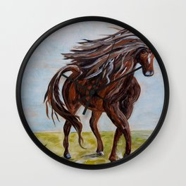 Splashing the Light - Young Horse Wall Clock