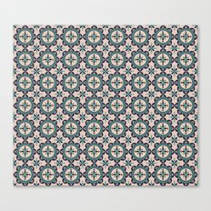 Cute blue retro elegant pattern Canvas Print