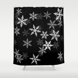 Black and White Winter Shower Curtain