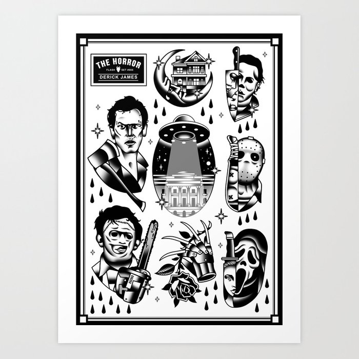 Classic Horror Tattoo Set Art Print By Derickjames