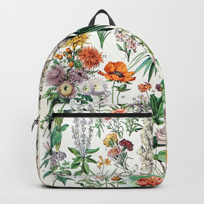 Adolphe Millot - Fleurs B - French vintage poster Backpack