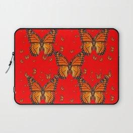 ORANGE MONARCH BUTTERFLIES RED MODERN ART MONTAGE Laptop Sleeve