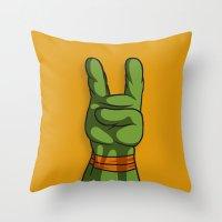 ninja turtle Throw Pillows featuring Teenage Mutant Ninja Turtle Hand by MONDOBITGO