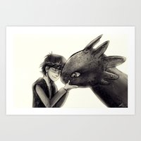 hiccup Art Prints featuring Hiccup and Toothless by AndytheLemon