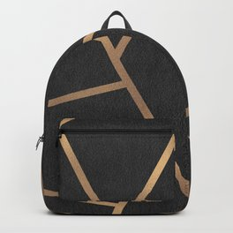 Dark Grey and Gold Textured Fragments - Geometric Design Backpack