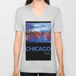 Retro Travel Poster Chicago Illinois Unisex V-Neck
