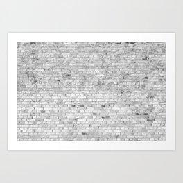 White Washed Brick Wall - Light White and Grey Wash Stone Brick Art Print
