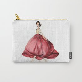 Red Fashion Watercolor Model Carry-All Pouch