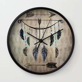 Bow, Arrow, and Feathers Wall Clock