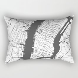 New York City White on Gray Street Map Rectangular Pillow