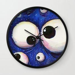 Blue Monster Eyes Wall Clock