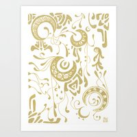 art nouveau Art Prints featuring Nouveau by CyberneticGhost