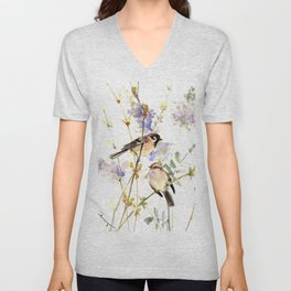 Sparrows and Spring Blossom Unisex V-Neck