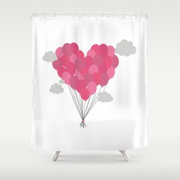 Balloons arranged as heart Shower Curtain