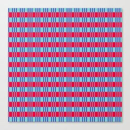 Striped basket pattern red and blue Canvas Print