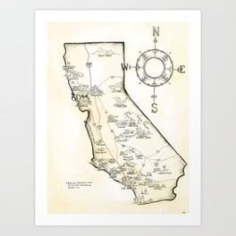 California Farms Map Art Print