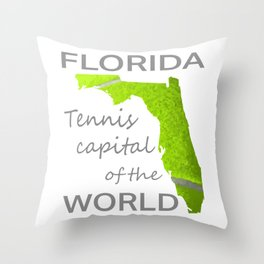 Florida Tennis on white Throw Pillow