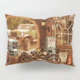 Nostalgic garage with tractor and motorcycle Pillow Sham
