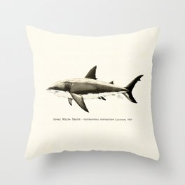 """Carcharodon carcharias II"" by Amber Marine  ~ Great White Shark Illustration, (Copyright 2015) Throw Pillow"