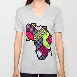 Pink and Green Africa Map Unisex V-Neck