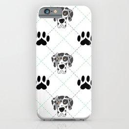 Merle Great Dane Paw Print Pattern iPhone Case