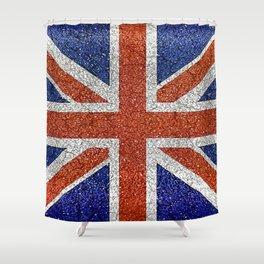 England Flag Vivid Grunge Style Shower Curtain