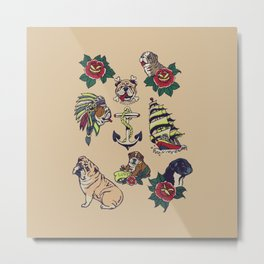 English Bulldog Tattoo Metal Print
