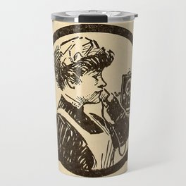 Lady at phone. Travel Mug