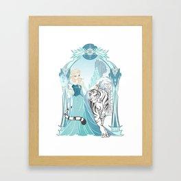 Frozen White Tiger Framed Art Print